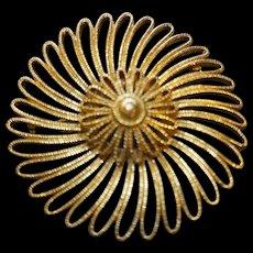 Monet Gold Tone Spiral Swirl Pin 3 IN