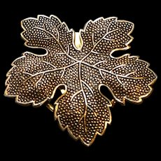 West Western Germany Scarf Clip Leaf Gold Tone Textured
