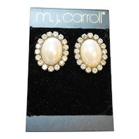 MJ Carroll Faux Pearl Oval Rhinestone Earrings Post Backs New Old Stock