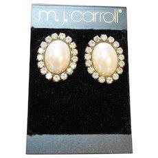 MJ Carroll Faux Pearl Oval Rhinestone Earrings Post Backs New Old Stock