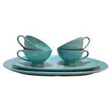 Texas Ware Vintage Turquoise Blue Melmac Melamine 6 Pcs Platters Trays Cups
