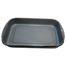 Blue Grey Enamel Graniteware Black Trim Lasagna Rectangle Baking Roasting Pan