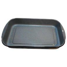 Blue Grey Enamel Graniteware Black Trim Lasagna Rectangle Baking Roasting Pan