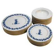 Blue White Melmac Melamine Dishes Set Wedgwood Style Classic by Mallory 26 Pcs Plates Bowls