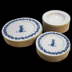 Blue White Melmac Melamine Dishes Set Wedgwood Style Classic by Mallory 26 Pcs Plates Bowls
