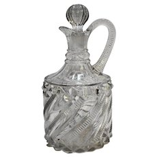 Richards Hartley Bar Diamond Clear Zipper Swirl Decanter Bottle EAPG 1891