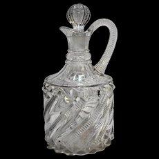 Richards Hartley Bar Diamond Clear Zipper Swirl Decanter Bottle EAPG 1891