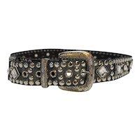 Rhinestone Studded Black Leather Belt Ladies Western Vintage