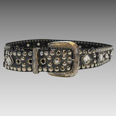 Rhinestone Studded Black Leather Belt Ladies Western Vintage