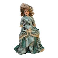 Porcelain Bisque Antique Doll Kid Body Green Plaid Taffeta Dress Brown Eyes