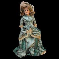 Porcelain Bisque Antique Doll Kid Body Green Plaid Taffeta Dress Brown Eyes