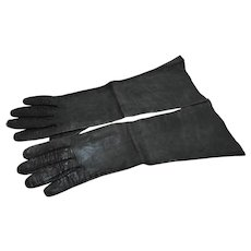 Dark Green Leather Gloves Vintage Elbow Length 15 IN
