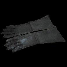 Dark Green Leather Gloves Vintage Elbow Length 15 IN