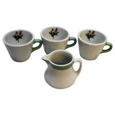 Shenango China Restaurant Ware Green Band White Pink Flowers Creamer Cups Mugs