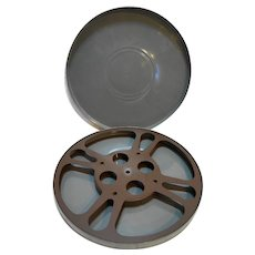 GB Goldberg Bros.Grey Painted 1950s 10 IN Film Reel Canister