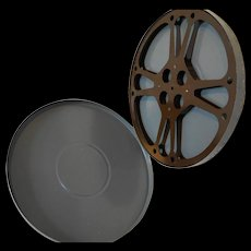 Grey Painted 1950s 14 IN Film Reel Canister Ampro Reel