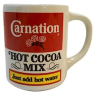 Carnation Hot Cocoa Mix Pottery Mug Advertising Vintage