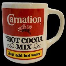 Carnation Hot Cocoa Mix Pottery Mug Advertising Vintage