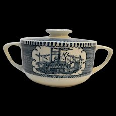 Royal China Currier Ives Blue Sugar Bowl With Lid