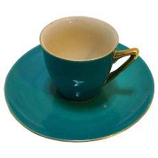 PT Tulowice Poland Green Porcelain Cup Saucer Reinhold Schlegelmil