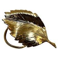 Leaf Scarf Clip Gold Tone Vintage