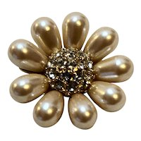 Faux Pearl Rhinestone Center Flower Pin Gold Plated Bridal Wedding
