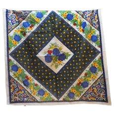 Ginnie Johansen Floral Cotton Lawn Scarf 1989 33 IN