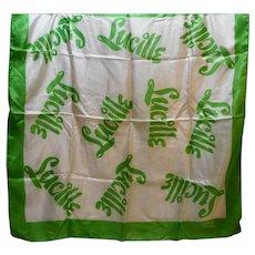 Susan Lee Silk Scarf 1950s Lucille Print Green Border