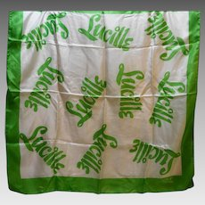 Susan Lee Silk Scarf 1950s Lucille Print Green Border