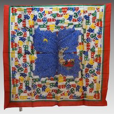 Ginnie Johansen Christmas Santa Houses Cotton Lawn Scarf 1988 26 IN Primary Colors