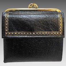 Princess Gardner Leather Cowhide Black Billfold Wallet Coin Purse