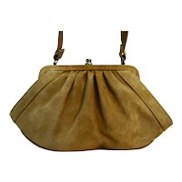 Camel Tan Suede Purse Shoulder Bag Signed Maroplast