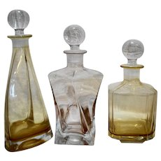 Mid Century Modern Glass Decanters Liquor Bottles Amber Pink Set of 3
