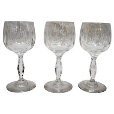 Cut Crystal Glass Oval Thumbprint Wine Glasses Set of 3 Hollow Panel Stems
