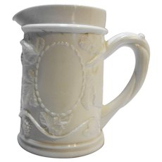 Milk Glass Grape Vine Vintage Stein Style Creamer Milk Pitcher