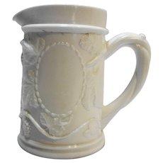 Milk Glass Grape Vine Vintage Stein Style Creamer Milk Pitcher