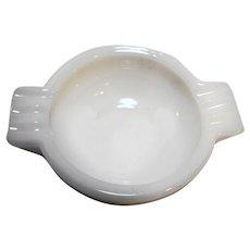 Art Deco White Milk Glass Ashtray Wings Round