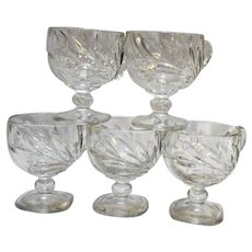 Indiana Glass Willow Magnolia Lotus Clear Glass Punch Cups Set 5