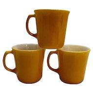 Corelle Citrus Yellow White 3 Pyrex Mugs 1980s Vintage
