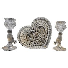 Vintage Hofbauer Byrdes Crystal Glass Bird Candle Holder Pair And Heart Dish