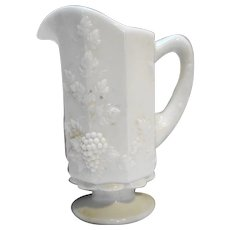 Westmoreland Paneled Grape Pitcher 8 IN Quart White Milk Glass
