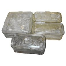 Federal Glass Vegetables Fruit Refrigerator Dishes Set 4 Square Rectangles