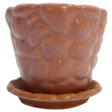McCoy Pink Pebble Matte Flower Pot With Saucer 303 Small