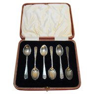 Sterling Demitasse Spoons Set of 6 England Leather Case