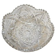 American Brilliant Period Cut Glass Hobstar Cross 8 IN Bowl Sawtooth Rim