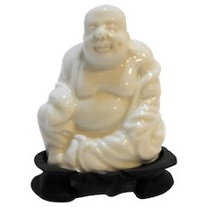 White Glazed Buddha Figurine Small Happy Rosewood Stand