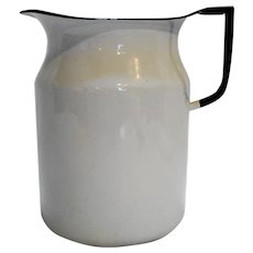 Enamelware White Black Trim Farmhouse Large Pitcher