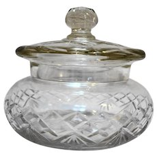 Cut Crystal Covered Dish Candy Fan Criss Cross Diamond