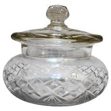 Cut Crystal Covered Dish Candy Fan Criss Cross Diamond