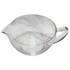 Clear Blown Glass Gravy Boat Applied Handle